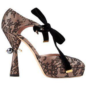 Louis Vuitton Floral Lace Platform Heels